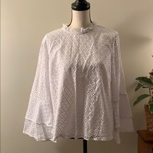Michael Kors White Lace Bell Sleeve Top Size Large